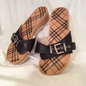 Burberry Wood and Leather Slides
